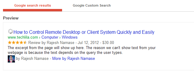 Rich Snippets Testing Tool Preview