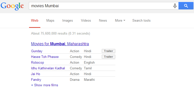 Google Search - Local Movies Search