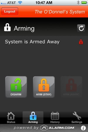 Alarm.com Monitor and Control Application