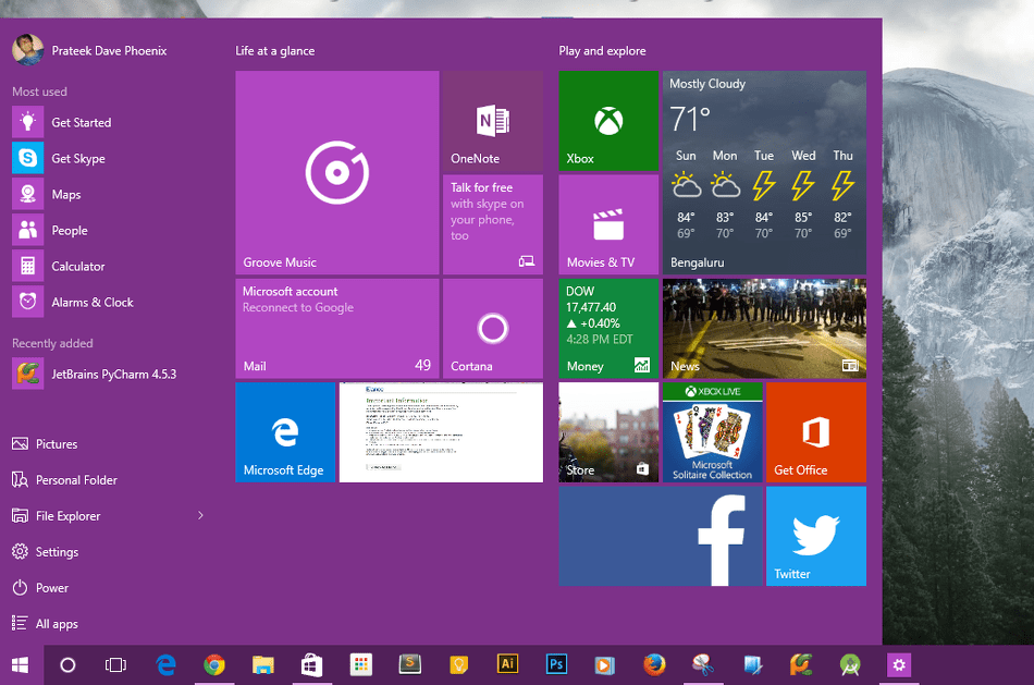 Start Menu Colors