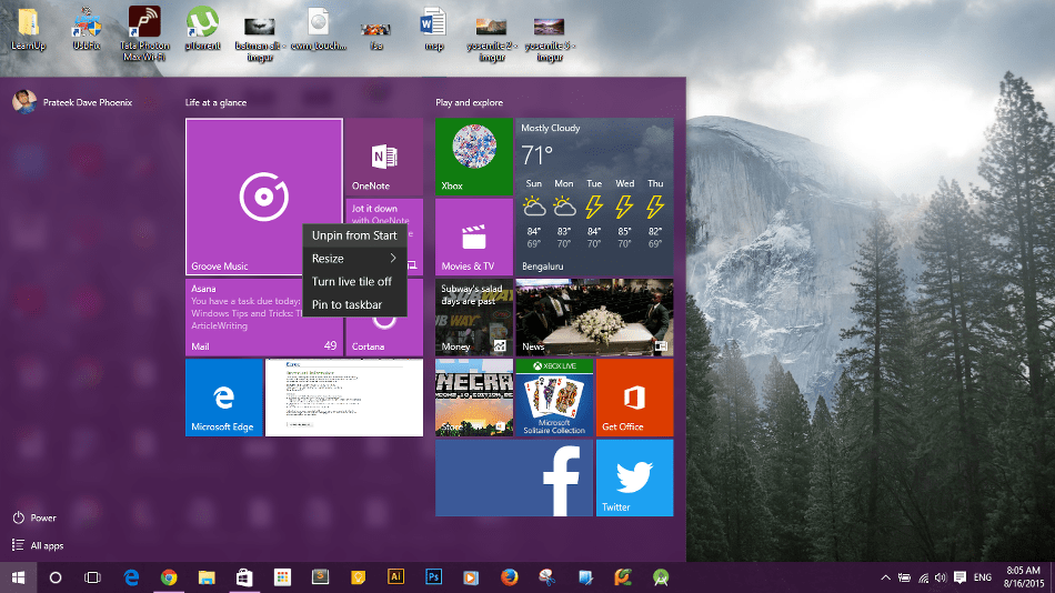 Unpin Shortcuts from Start Menu