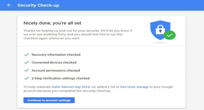 Google Security Check for Google Drive 2 Gb-storage