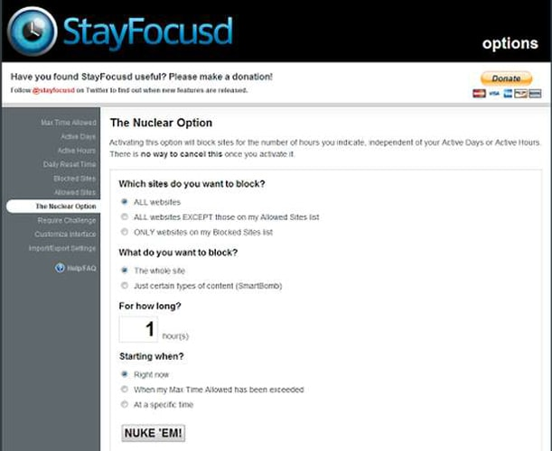 StayFocused Chrome Extention