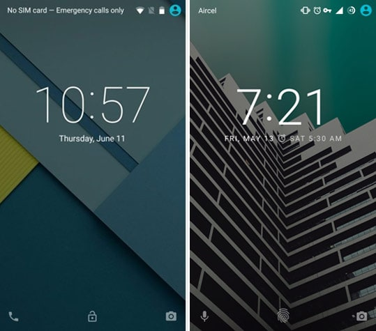 Lock Screen Comparison
