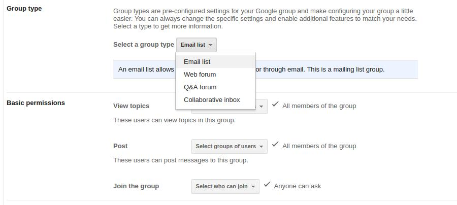Google Group Types