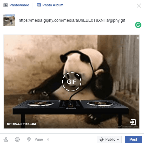 Share gif on Facebook