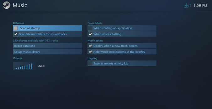Music Settings in Steam Big Picture Mode