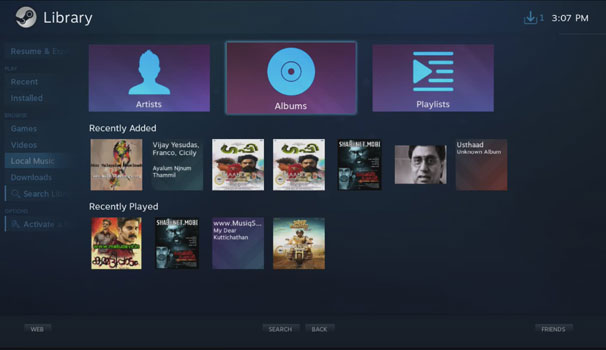 Steam Music Library in Big Picture Mode