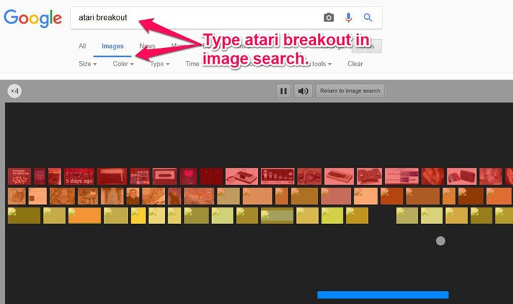Atari Breakout Google Hidden Game
