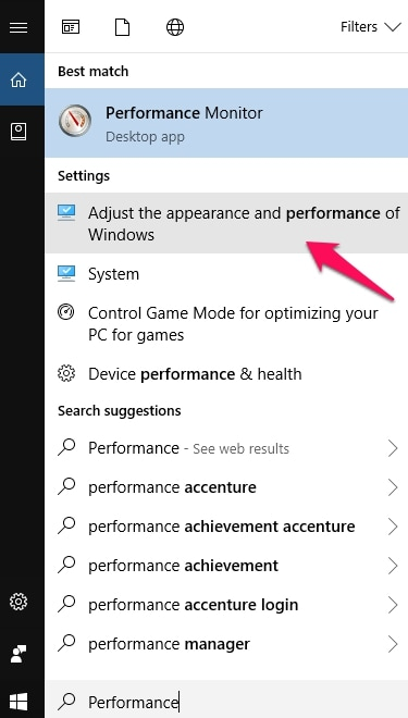 Adjust Appearance and Performance of Windows