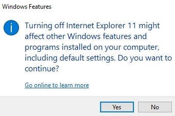 Internet Explorer Popup