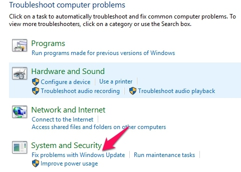 Fix Problems with Windows Update Option