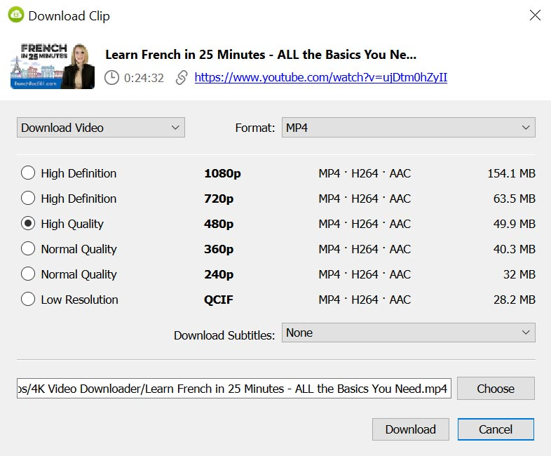 Using 4K Video Downloader - Video Quality